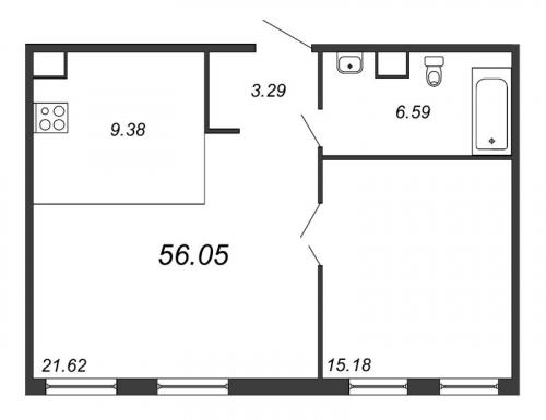 2-комнатная квартира на продажу (56,5 м<sup>2</sup>)