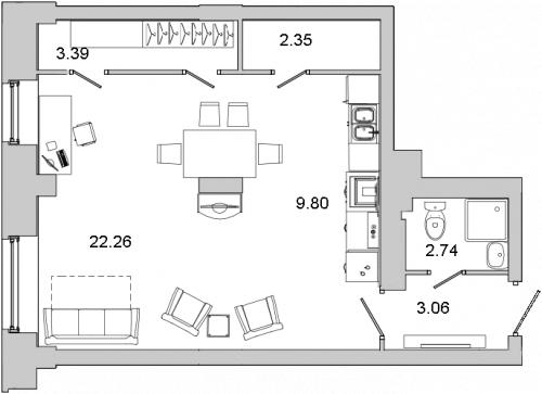 1-комнатная квартира на продажу (44,3 м<sup>2</sup>)