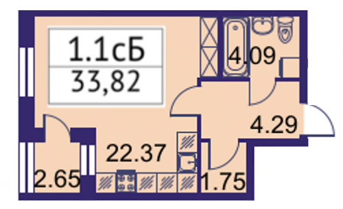 Студия на продажу (33,8 м<sup>2</sup>)