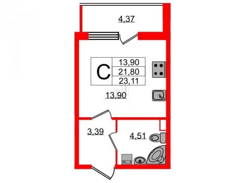 Студия на продажу (23,1 м<sup>2</sup>)