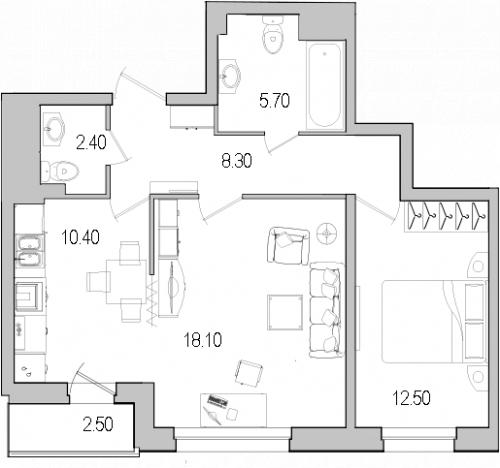 2-комнатная квартира на продажу (58,7 м<sup>2</sup>)