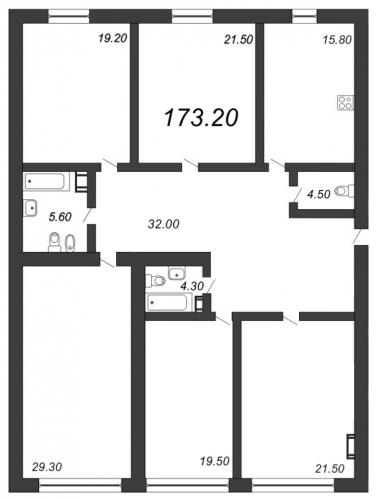 5-комнатная квартира на продажу (173,2 м<sup>2</sup>)