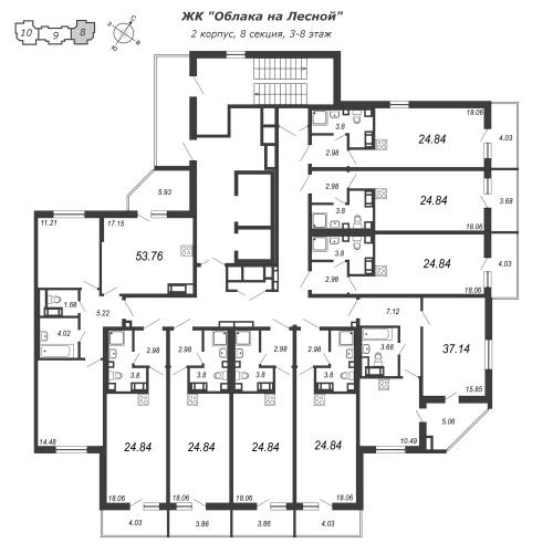 3-комнатная квартира на продажу (53,8 м<sup>2</sup>)