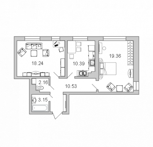 2-комнатная квартира на продажу (63,9 м<sup>2</sup>)