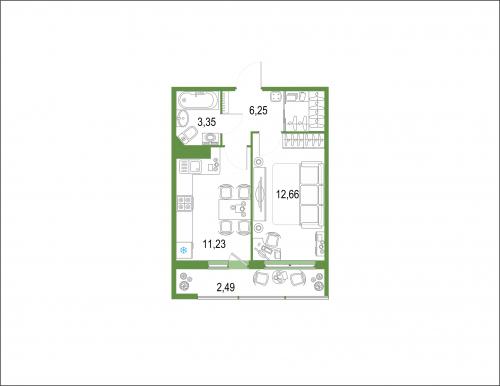 1-комнатная квартира на продажу (35,8 м<sup>2</sup>)