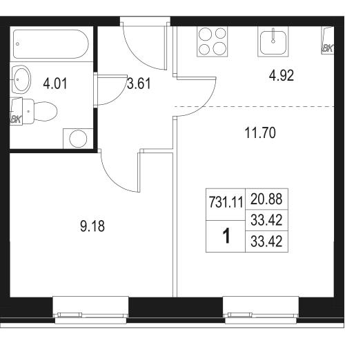 2-комнатная квартира на продажу (33,4 м<sup>2</sup>)