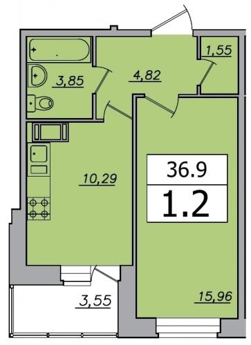 1-комнатная квартира на продажу (36,9 м<sup>2</sup>)