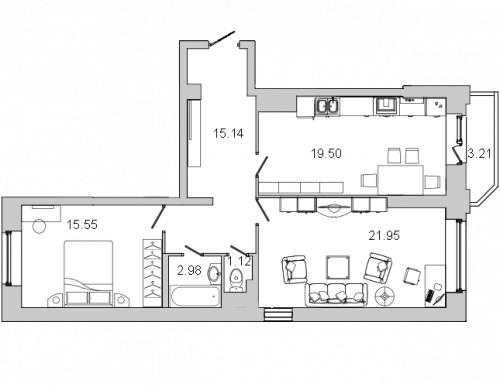 2-комнатная квартира на продажу (77,3 м<sup>2</sup>)