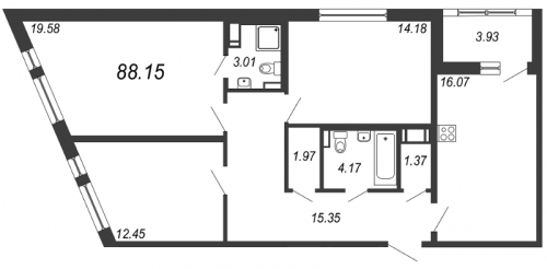 4-комнатная квартира на продажу (88,2 м<sup>2</sup>)