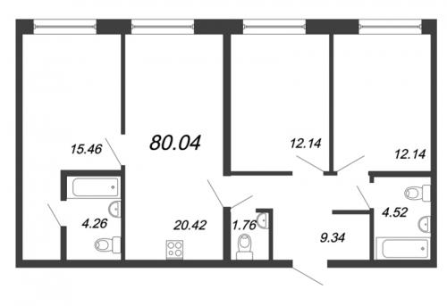 4-комнатная квартира на продажу (80,0 м<sup>2</sup>)