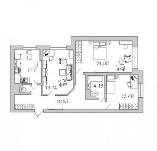 3-комнатная квартира на продажу (87,5 м<sup>2</sup>)