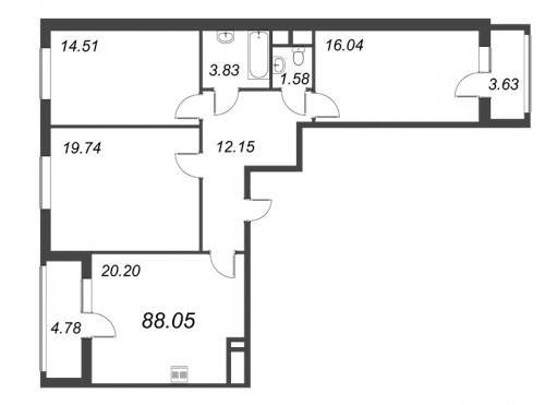 4-комнатная квартира на продажу (88,1 м<sup>2</sup>)