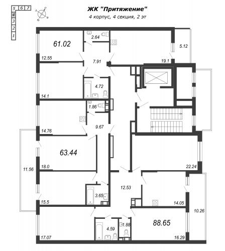 3-комнатная квартира на продажу (61,0 м<sup>2</sup>)