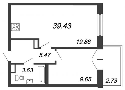 2-комнатная квартира на продажу (39,1 м<sup>2</sup>)