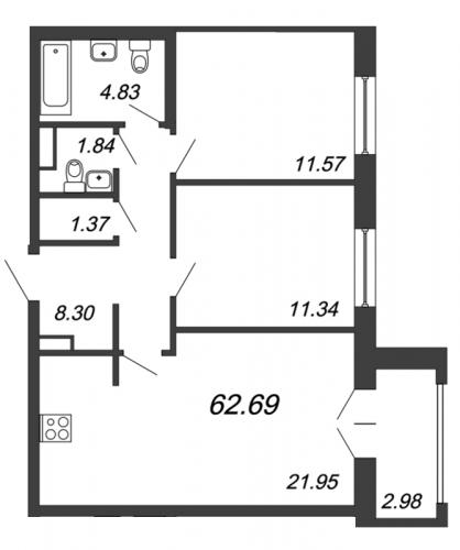 3-комнатная квартира на продажу (62,4 м<sup>2</sup>)