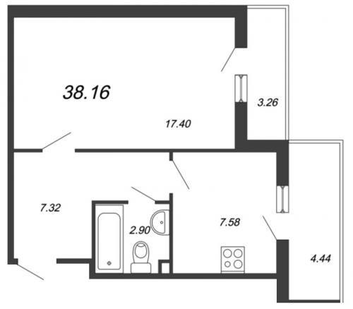 1-комнатная квартира на продажу (38,2 м<sup>2</sup>)