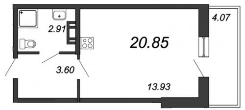 Студия на продажу (20,4 м<sup>2</sup>)