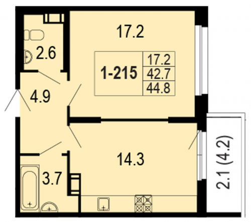 1-комнатная квартира на продажу (44,8 м<sup>2</sup>)