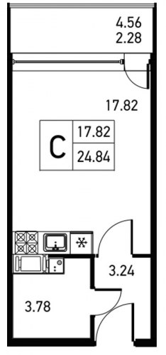 Студия на продажу (27,1 м<sup>2</sup>)