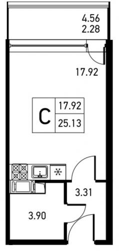 Студия на продажу (27,4 м<sup>2</sup>)