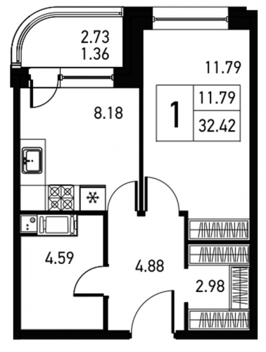 1-комнатная квартира на продажу (33,8 м<sup>2</sup>)