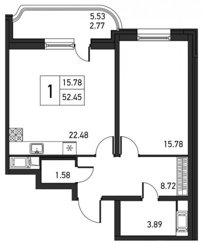 2-комнатная квартира на продажу (55,2 м<sup>2</sup>)
