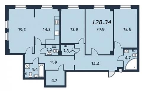4-комнатная квартира на продажу (128,9 м<sup>2</sup>)