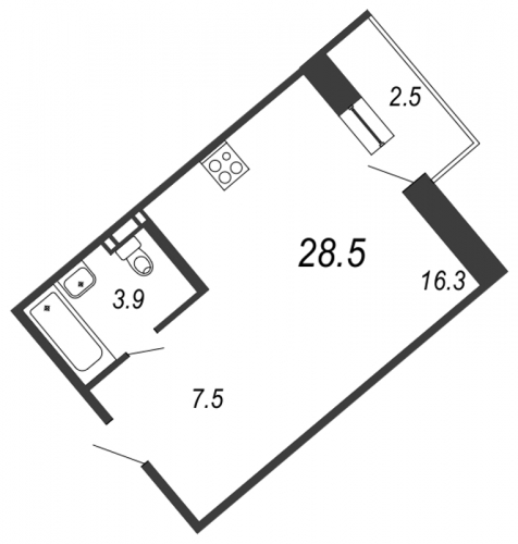 Студия на продажу (28,5 м<sup>2</sup>)