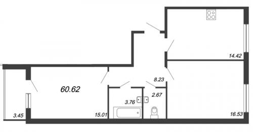 3-комнатная квартира на продажу (60,6 м<sup>2</sup>)
