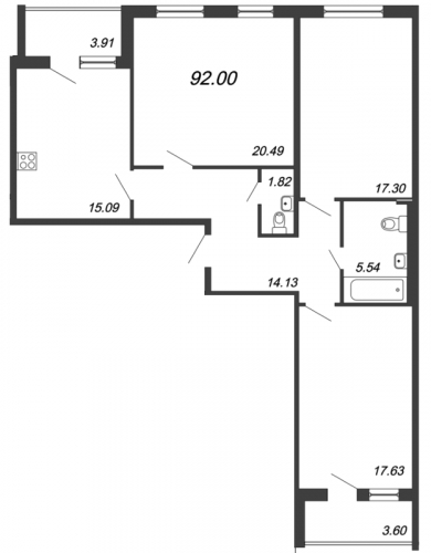 3-комнатная квартира на продажу (92,0 м<sup>2</sup>)