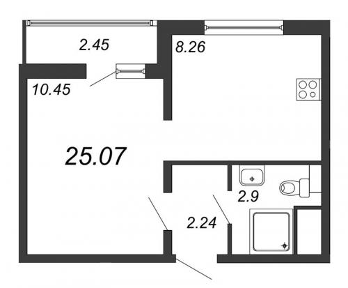 1-комнатная квартира на продажу (25,1 м<sup>2</sup>)
