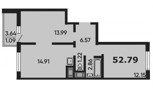 3-комнатная квартира на продажу (52,8 м<sup>2</sup>)
