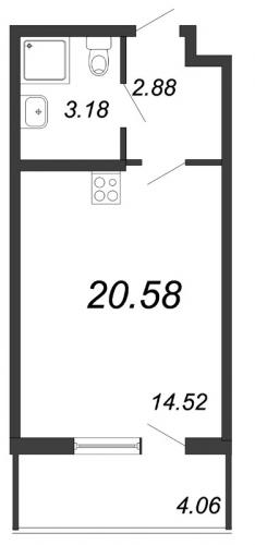 Студия на продажу (20,6 м<sup>2</sup>)