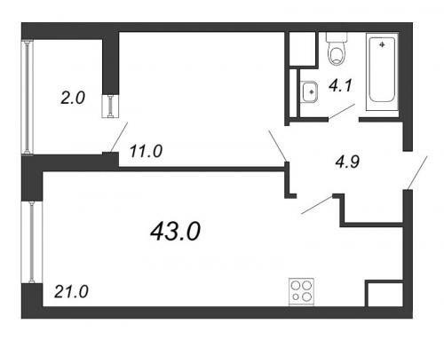 2-комнатная квартира на продажу (43,0 м<sup>2</sup>)