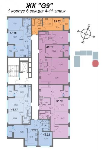 4-комнатная квартира на продажу (72,7 м<sup>2</sup>)