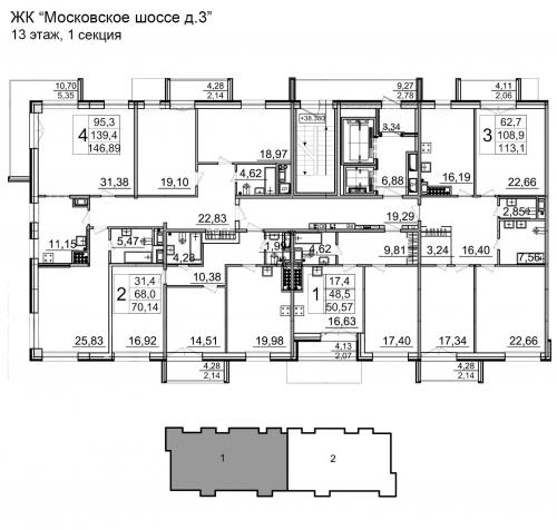 1-комнатная квартира на продажу (50,5 м<sup>2</sup>)