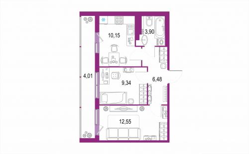 2-комнатная квартира на продажу (46,4 м<sup>2</sup>)