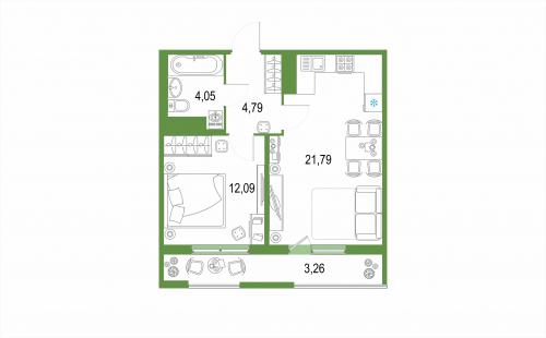 1-комнатная квартира на продажу (22,0 м<sup>2</sup>)
