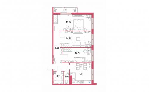 3-комнатная квартира на продажу (78,1 м<sup>2</sup>)