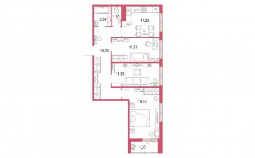 3-комнатная квартира на продажу (71,7 м<sup>2</sup>)
