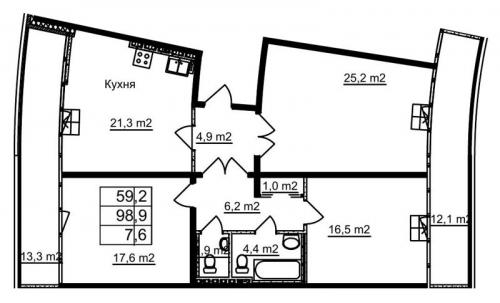 3-комнатная квартира на продажу (97,1 м<sup>2</sup>)