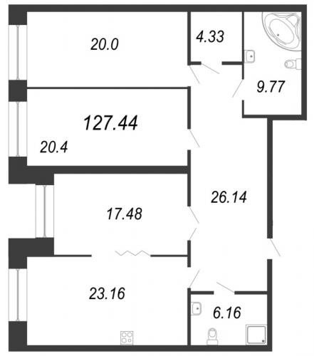 3-комнатная квартира на продажу (128,0 м<sup>2</sup>)