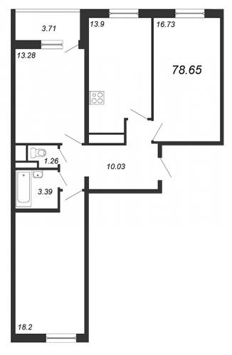 3-комнатная квартира на продажу (78,7 м<sup>2</sup>)