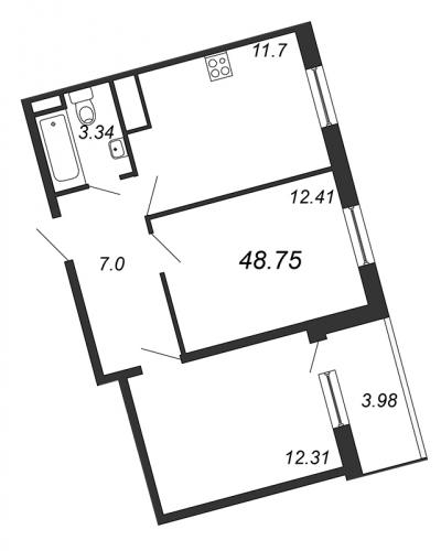 2-комнатная квартира на продажу (48,8 м<sup>2</sup>)