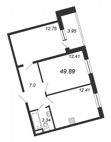 2-комнатная квартира на продажу (49,9 м<sup>2</sup>)