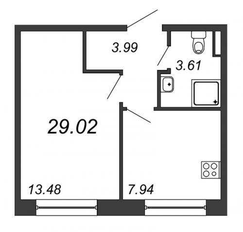 1-комнатная квартира на продажу (29,0 м<sup>2</sup>)