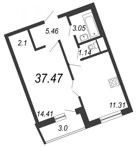 1-комнатная квартира на продажу (37,5 м<sup>2</sup>)