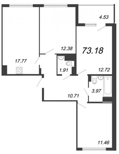 4-комнатная квартира на продажу (73,2 м<sup>2</sup>)