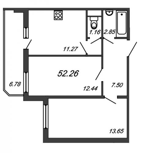 2-комнатная квартира на продажу (52,9 м<sup>2</sup>)