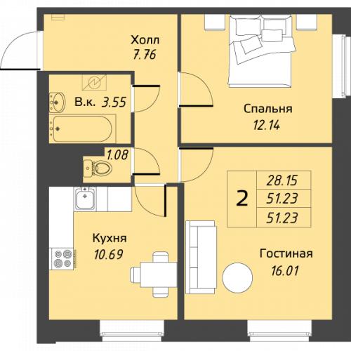 2-комнатная квартира на продажу (51,2 м<sup>2</sup>)